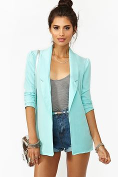 Blazer in Sky Blue, high waisted shorts and gray top. LOVE