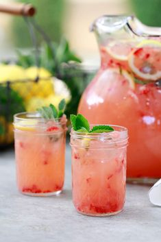 This easy homemade pink strawberry lemonade recipe is made in the blender and sweetened with honey, agave, or sugar. This blended strawberry lemonade recipe tastes like a Starbucks copycat. Easy Strawberry Lemonade Recipe, Pink Lemonade Recipes, Homemade Lemonade Recipes, Mint Lemonade, Frozen Lemonade, Blender Lemonade Recipe, Agaves, Kombucha, Starbucks