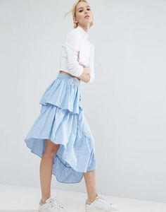 ASOS Stripe Midi Skirt with Deconstructed Detail