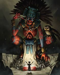 ArtStation - Lord of Mictlan, Nikita Orlov Monster Art, Fantasy Kunst, Dark Fantasy Art, Aztec Tattoo Designs, Aztec Culture, Aztec Warrior, Aztec Art, Chicano Art, Mexican Art