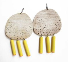 natalia mp - earrings - timber, silver, paint