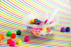 Make your dolls breakfast using bowls from a gum ball machine