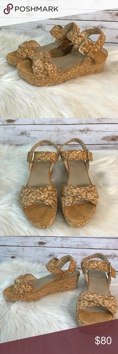 Stuart Weitzman Sisal Straw Wedges These are a pair of Stuart Weitzman Sisal wedges in a size 9. These wedges show minimal wear and are in excellent condition. Please let me know if you have any questions. Thanks! Stuart Weitzman Shoes Wedges