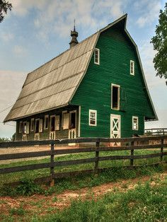 Stables in Green Barn, James Madison& Montpellier, Orange County, Virginia Farm Barn, Old Farm, Country Barns, Country Life, Country Living, Country Roads, Cabana, Green Barn, Barn Pictures