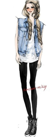 xunxun-missy hand-painted spring fashion illustrator like this style