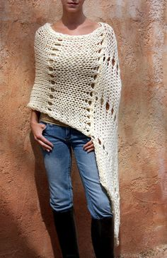 Junea Beautiful Cream HandKnit Poncho By Eva by evabellaboutique, $128.00