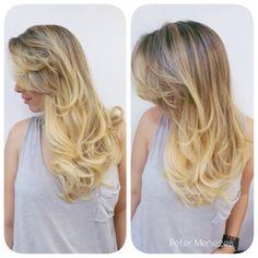 Proposta de um ombré hair com explosão de luzes nas pontas! Super loira, blond, reflexos, californianas ...