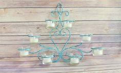 Candle Holder Metal Wall Decor Turquoise Fleur De Lis Wrought Iron Up Cycled Eco Friendly READY TO SHIP - pinned by pin4etsy.com