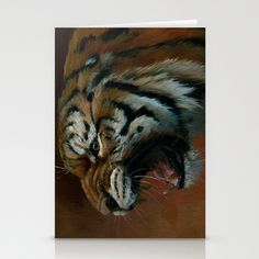 Tiger oil029 Stationery Cards by S-Schukina - $12.00