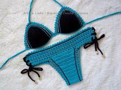 2b1530f4f Biquine de Crochê Azul Turquesa (Top com ou sem bojo) e Calcinha de crochê