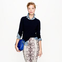Jackie sweater paired with chambray button up and a printed pencil skirt..perfect for fall work wardrobe