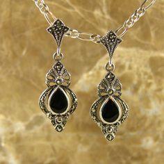 Sterling Silver Victorian Marcasite & Onyx Gemstone Earrings