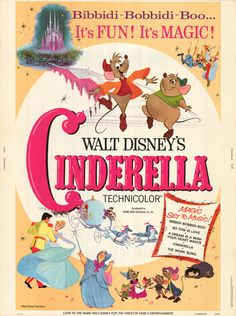 Official Theatrical Movie Poster Of For Cinderella Starring Ilene Woods Eleanor Audley Verna Felton Rhoda Williams