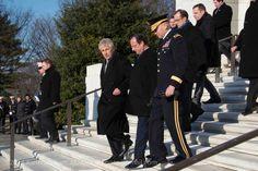 Sec Def Chuck Hagel, President Hollande (France) and MG Buchanan at Arlington National Cemetery Amphitheater