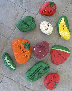 Garden markers from painted rocks. Garden markers from painted rocks. Vegetable Painting, Garden Painting, Pebble Painting, Pebble Art, Stone Painting, Painted Garden Rocks, Painted Rocks, Rocks Garden, Rock Crafts