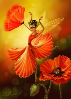 Amid the poppies. Fairy Dust, Fairy Land, Fairy Tales, Magical Creatures, Fantasy Creatures, The Magic Faraway Tree, Fairy Pictures, Love Fairy, Beautiful Fairies