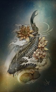 Their spectacular colors and patterns are part of the reason that koi fish are loved today and treasured by their owners. Colors of a koi fish should be bright. Koi Dragon Tattoo, Carp Tattoo, Koi Fish Tattoo, Art Lotus, Lotus Kunst, Koi Kunst, Koi Tattoo Design, Art Koi, Fish Art