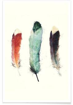 Feathers en Affiche premium par Amy Hamilton | JUNIQE