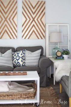 Living Room Updates - Love the Wall art, I bet I could easily make this with painters tape and mdf board.