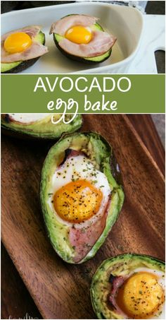Avocado Egg Bake Recipe - Family Fresh Meals My new Avocado Egg Bake bites are a low-carb breakfast that's definitely not boring. A green avocado, halved and pitted, topped with sliced ham and baked. Avocado Egg Bake, Avocado Dessert, Avocado Toast, Avocado Egg Breakfast, Avocado Egg Recipes, Cooking Avocado, Keto Avocado, Baked Avocado With Egg, Eggs With Avacado
