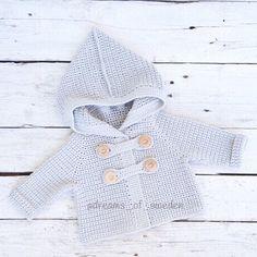 Crochet baby cardigan | Grey baby hoodie | Cat ears baby jacket | Knit baby…