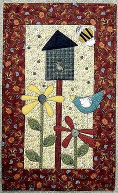 """Okay, my """"someday"""" quilt has arrived! This is soooo me! Applique Wall Hanging, Quilted Wall Hangings, House Quilts, Barn Quilts, Small Quilts, Mini Quilts, Quilting Projects, Quilting Designs, Diy Quilt"""