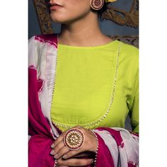 """cotton Fit & flare silhouette kurta Comfort fit back button closure Round neckline Gota detailing on yoke and sleeves Three-fourth sleeves Palazzo pants """"Barfi"""" gota work on Palazzo Tie dye dupatta with gota work Dry clean only Neck Designs For Suits, Neckline Designs, Kurti Neck Designs, Dress Neck Designs, Blouse Designs, Indian Tunic, Indian Wear, Gota Patti Suits, Kurta Cotton"""