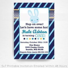 Hey, I found this really awesome Etsy listing at https://www.etsy.com/listing/201892598/boy-bunny-birthday-party-printable