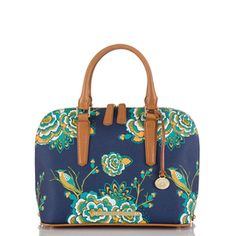 Brahmin Vivian Zip Top Dome Satchel Navy Belize
