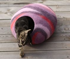 Cat bed/cat cave/cat house/ purplered felted cat cave by elevele, $67.00