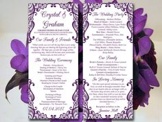 "Lace Wedding Program Template - Eggplant Purple Ceremony Program ""Bella Lace"" Instant Download Printable Wedding Tea Length Program Wedding by PaintTheDayDesigns on Etsy"