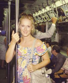Meryl on the subway.