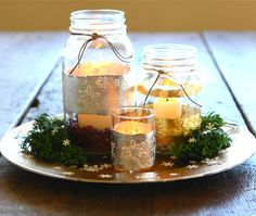 Mason jars and Gold & Silver Leaf from Caromal Colours makes amazing lighting for your home! Great DIY!
