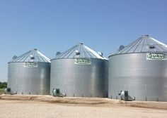 Three 20,000 bushel bins destined for corn storage in Ontario.  Built by DevolderFarms.com