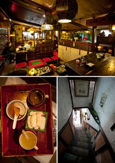 Tea House in Insadong South Korea.  Jeff and I sat on the right side by the cream colored painting!  had the little snacks and royal tea.
