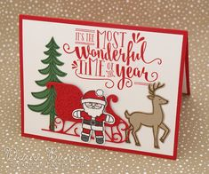handmade Christmas card using Stampin Up Santa's Sleigh stamp & dies, Cookie Cutter Christmas stamps & punch, & Wonderful Year stamps. Card by Di Barnes #colourmehappy 2016 holiday catalogue