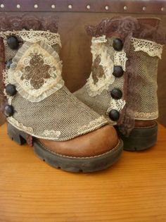 mori-girl-inspired:    hmmm… this has my creative little DIY brain spinning with ideas. I think I could stitch up something similar to work with the Doc Marten's I got last year (they look pretty close to the style and color of the boots in this image).