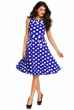 26bde53f8ca Blue Polka Dot Bohemain Print Dress with Keyholes Polka Dot Mini Dresses