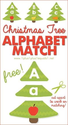 Christmas Tree ABC Match ~ Work on matching upper and lowercase letters as well as beginning sounds with these A to Z Christmas printables {FREE!}