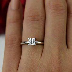 3/4 ct 14k White Gold Ring Princess Cut Ring by TigerGemstones