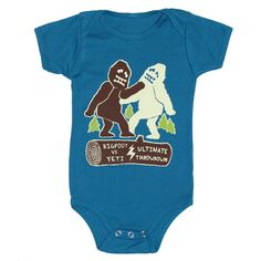 Bigfoot vs Yeti Baby One Piece Bodysuit Romper Jumper Sasquatch Forest Cool Funny Awesome Organic Blue Onesie by GnomEnterprises on Etsy https://www.etsy.com/listing/85474805/bigfoot-vs-yeti-baby-one-piece-bodysuit