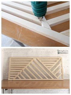 A headboard in practical and design palette – A la Mano Home Crafts, Diy Home Decor, Wood Floor Stain Colors, Diy Bett, Design Palette, Diy Bed Frame, Got Wood, Diy Headboards, Wooden Wall Art