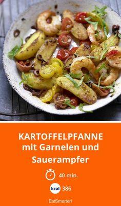 Kartoffelpfanne - mit Garnelen und Sauerampfer - smarter - Kalorien: 386 Kcal - Zeit: 40 Min. | eatsmarter.de