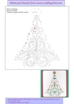 ED133 Christmas tree on Craftsuprint designed by Emy van Schaik - Stitching with beads - Now available for download!