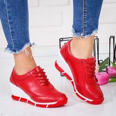 Pantofi dama cu platforma piele naturala rosii Capucius -rl