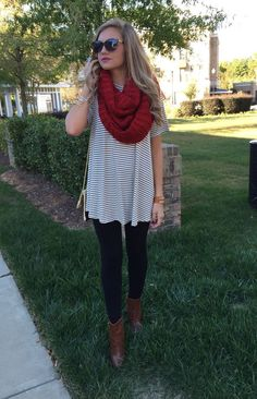 Striped dress, red scarf, black leggings, brown booties
