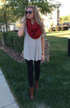 Striped dress, red scarf, black leggings, brown booties