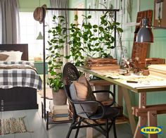 IKEA US - Furniture and Home Furnishings - - Let nature create two rooms out of one with the help of the PORTIS rolling clothes rack from IKEA and some beautiful plants. Source by IKEAUSA Living Room Divider, Ikea Room Divider, Room Dividers, Room With Plants, Plant Rooms, My New Room, Decoration, Home And Living, Room Inspiration