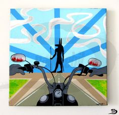 Anubis - Original, one of a kind, surreal acrylic painting of a biker, motorcycle rider, driving towards a black anubis, ancient Egyptian god, in the…