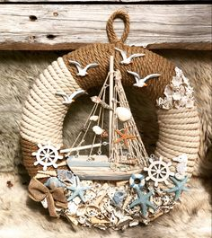 Diy Fall Wreath, Wreath Crafts, Summer Wreath, Sea Crafts, Seashell Crafts, Beach Bedroom Decor, Nursery Decor, Wall Decor, Deco Marine